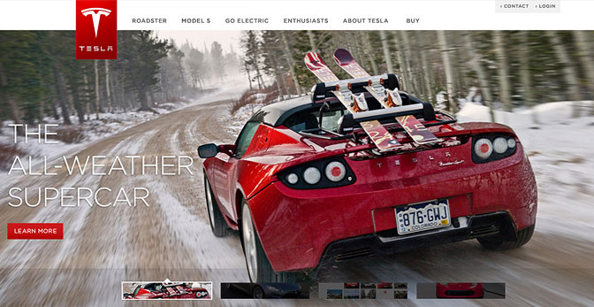 Tesla Roadster with ski