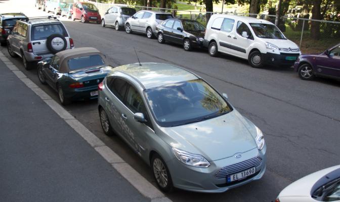 Focus Electric på en vanlig p-plass