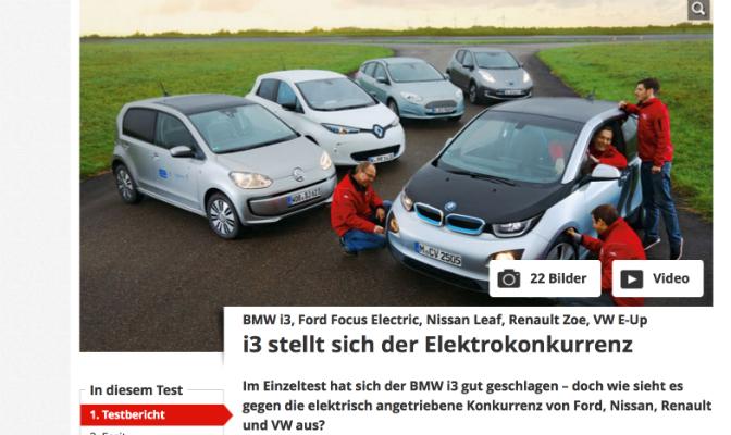 Bilmagasinet har testet BMW i3, Volkswagen e-up!, Renault Zoe, Ford Focus Electric og Nissan LEAF (Faksimile)