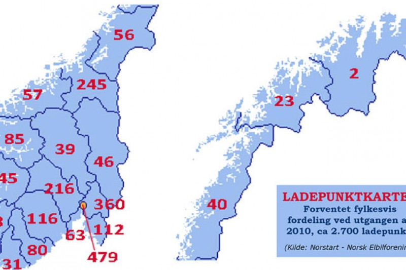 NOBIL – snart over 2.500 ladepunkt i Norge