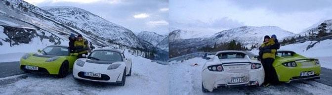 Tesla Roadster i Narvik