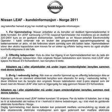 Nissan LEAF brev