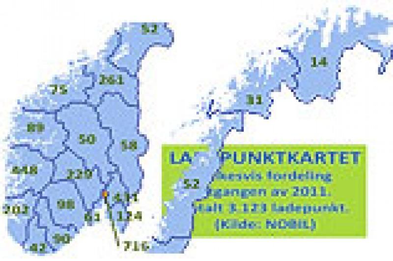 2011 endte med 3.123 ladepunkt for elbil