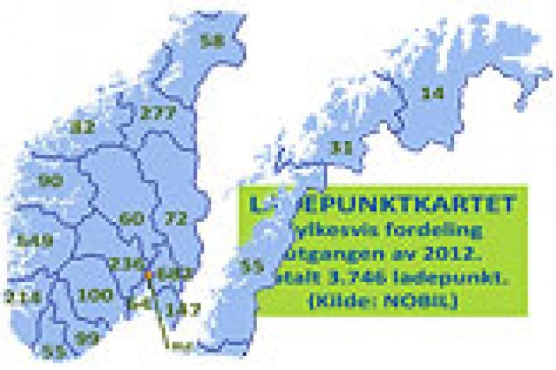 3.746 ladepunkt for elbiler i Norge