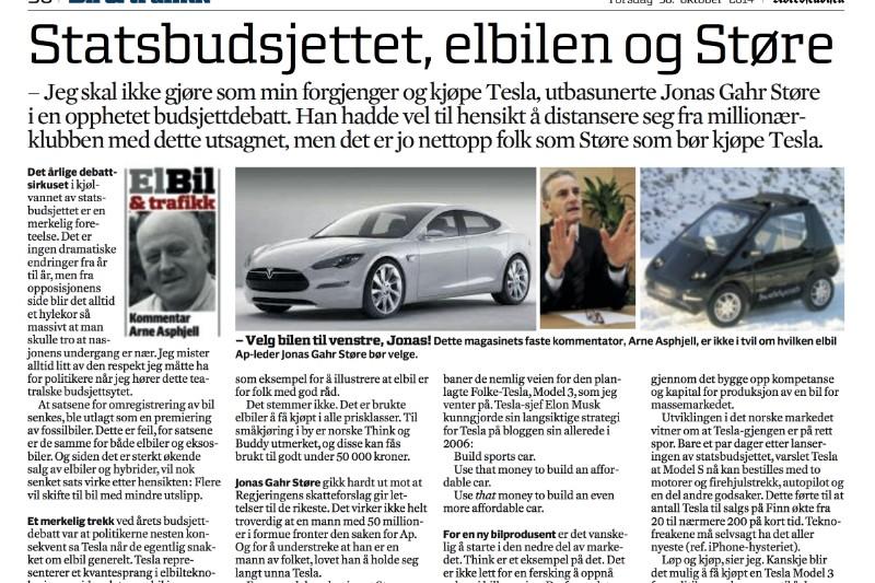 Derfor bør Jonas Gahr Støre kjøpe Tesla
