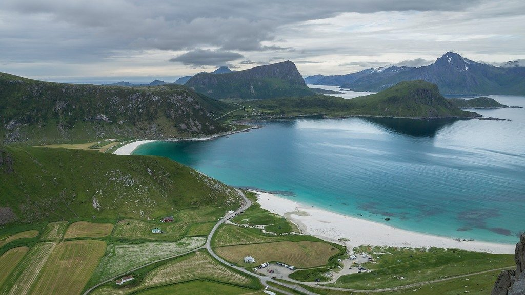 Hauklandsstranda på Vestvågøy. Foto: Trine Kanter Zerwekh / Statens vegvesen