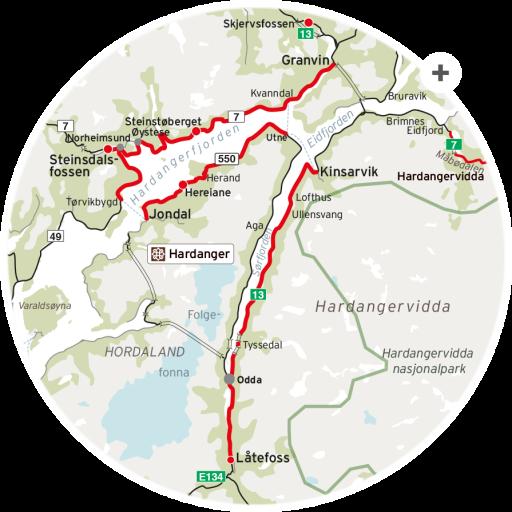 Nasjonal turistveg Kart Haranger