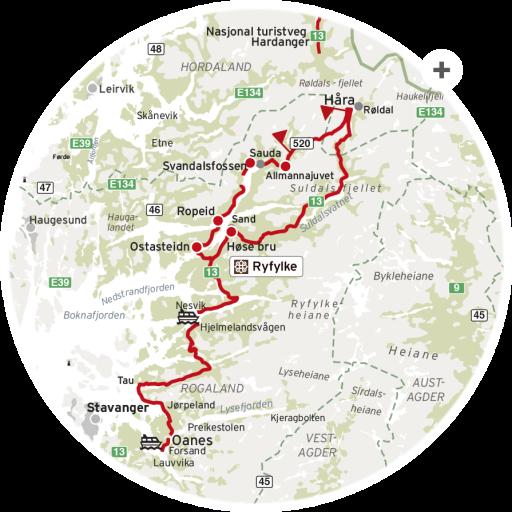 Nasjonale turistveger kart Ryfylke