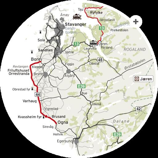 Nasjonal Turistveg kart Jæren.